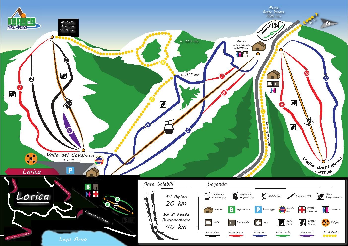 Mappa piste da sci di Lorica